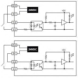 Рис.8 - Эквивалентная схема цепи дискретных входов ПЛК Delta Electronics DVP14SS11R2