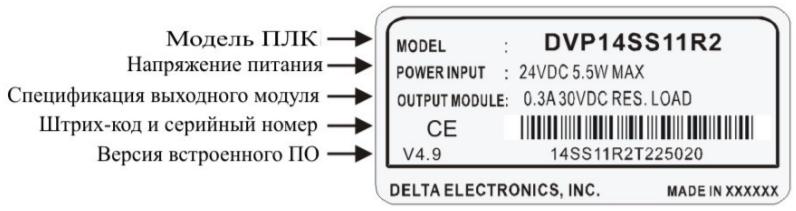 Маркировка на заводском шильдике Delta Electronics DVP14SS