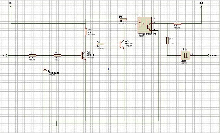 Рис. 12 — Эквивалентная схема дискретного входа ПЛК 100