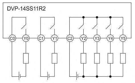 Рис.6 - Схема подключения нагрузки к релейным выходам ПЛК Delta Electronics DVP14SS11R2