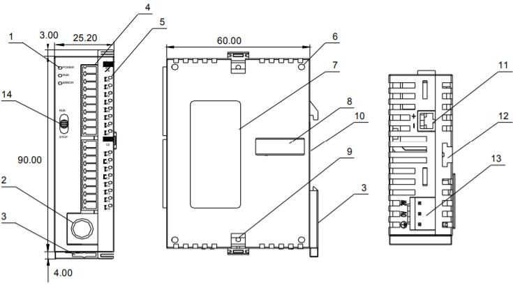 Компоновка изделия Delta Electronics DVP14SS