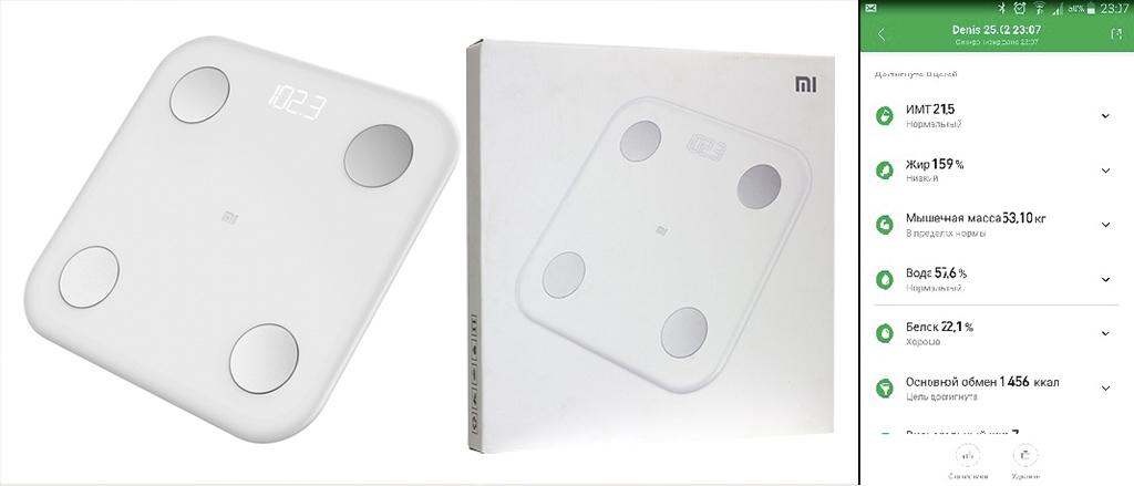 Рис. 5 — Внешний вид Xiaomi Smart Scale 2 и пример результатов анализа тела