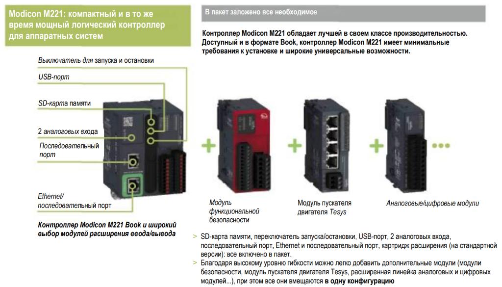 Modicon M221: компактный и, в то же время, мощный логический контроллер для аппаратных систем