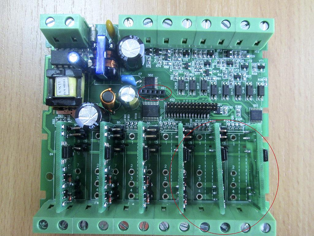 Рис. 14 — Перекосы компонентов на плате ПЛК 100