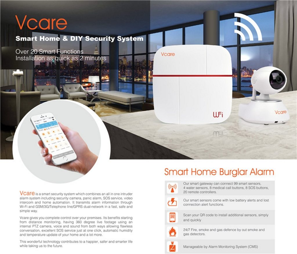 Smart Alarm Systems Vcare 2 дает вам полный контроль над вашими помещениями.