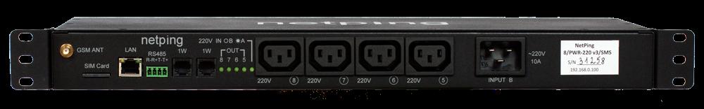 Вид спереди IP PDU NetPing 8PWR-220 v3SMS