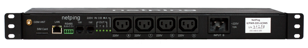 Вид спереди IP PDU NetPing 8PWR-220 v4SMS