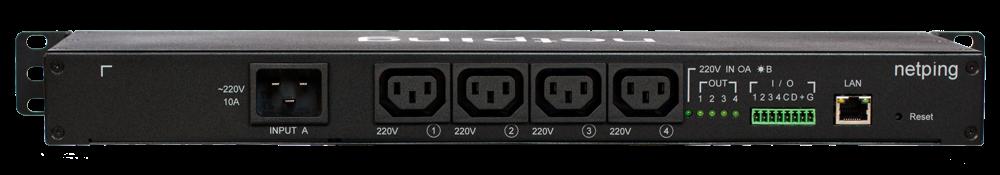 Вид сзади IP PDU NetPing 8PWR-220 v4SMS