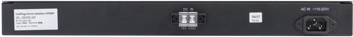 Устройство мониторинга микроклимата серверной комнаты UniPing server solution v3SMS - задняя панель