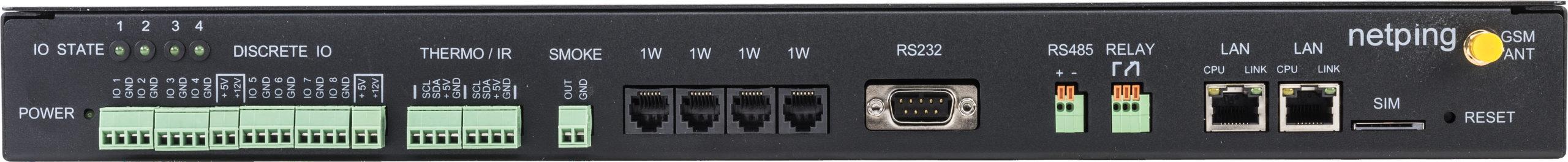Устройство мониторинга микроклимата серверной комнаты UniPing server solution v4SMS - передняя панель