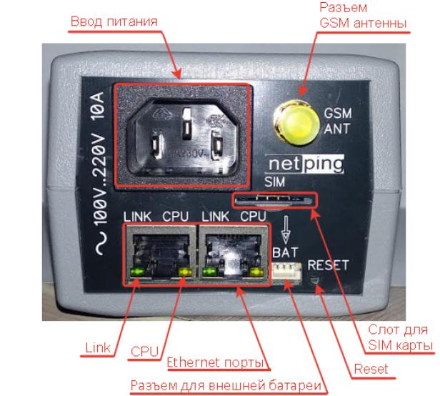 NetPing 2/PWR-220 v13/GSM3G - вид спереди