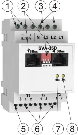 SVA-35D модуль сбора и предобработки данных с датчиков напряжения и тока - внешний вид