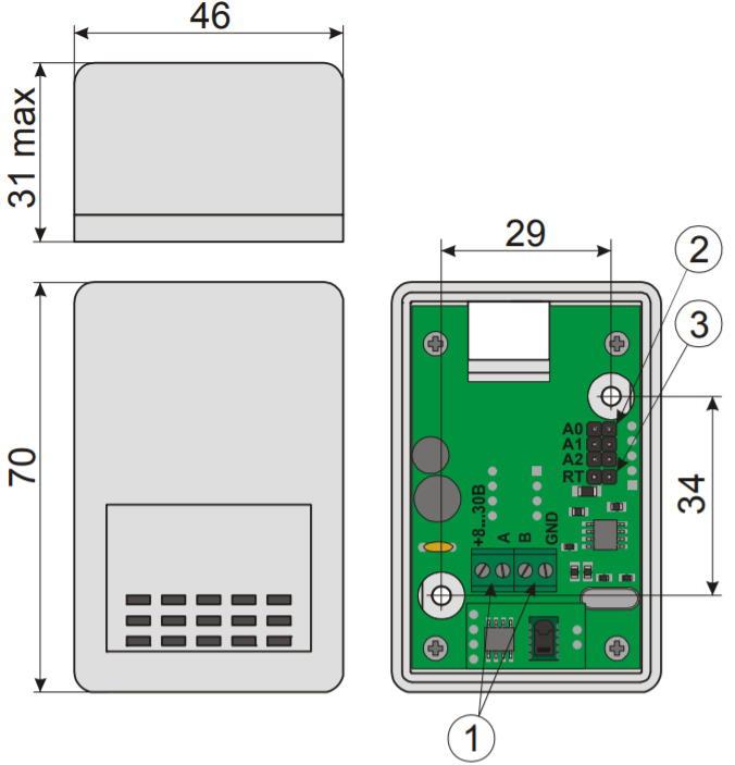 HS-RS485 - цифровой датчик температуры и влажности - внешний вид