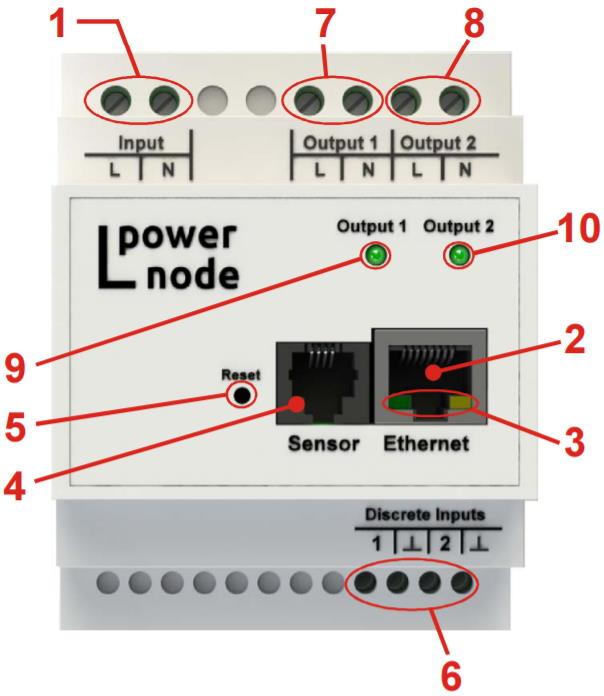 LPowerNode 2DIN устройство распределения электрического тока по нагрузкам потребителя - внешний вид