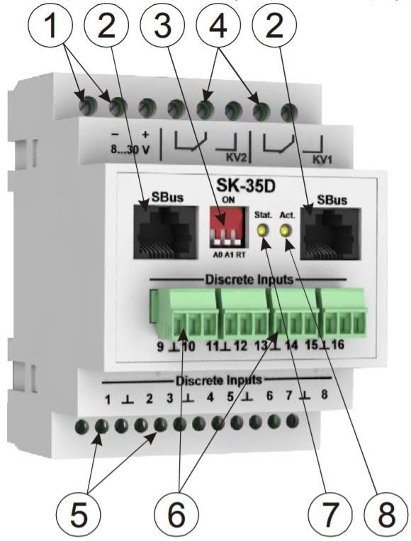 SK-35D модуль контроля дискретных входов - внешний вид