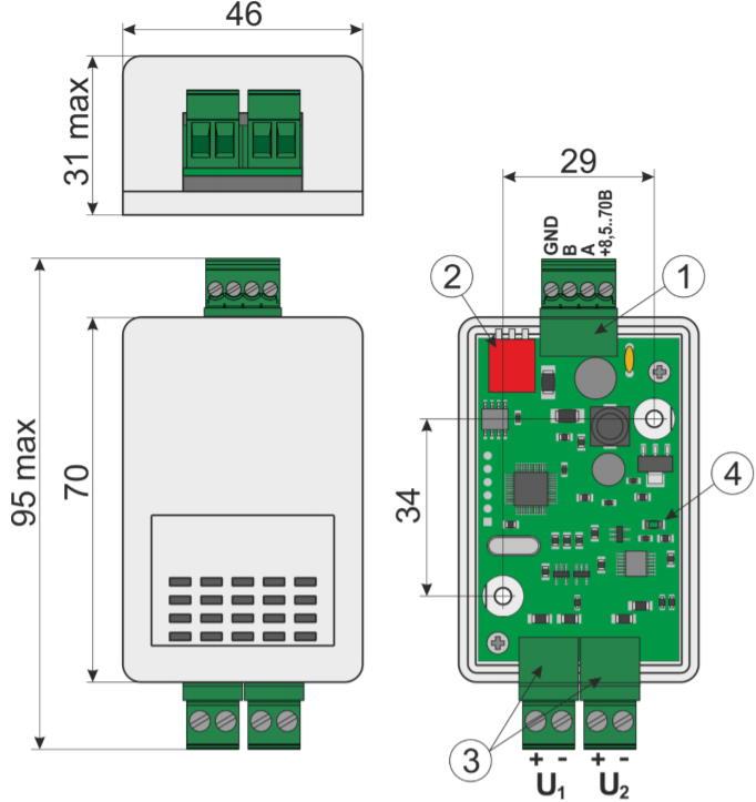 VC-RS485 датчик постоянного напряжения - внешний вид