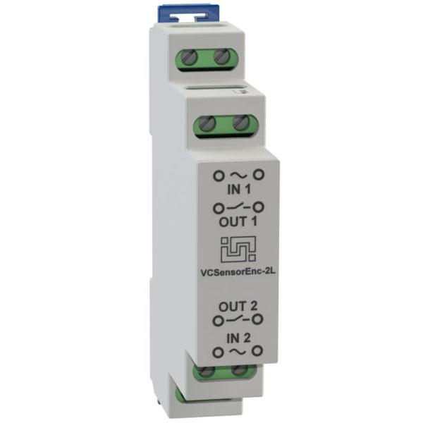 VCSensorEnc-2L - двухканальный изолированный датчик контроля наличия напряжения для установки на DIN рейку