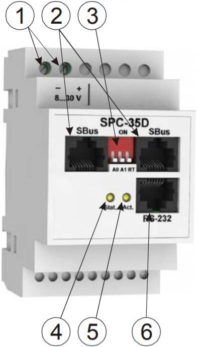 SPC-35D - модуль контроля параметров счетчиков электроэнергии - внешний вид