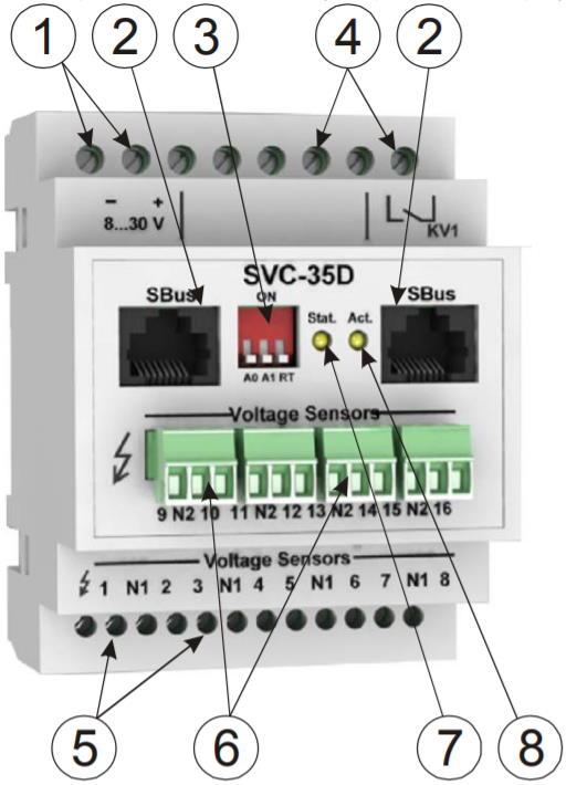 SVC-35D модуль контроля наличия напряжения - внешний вид