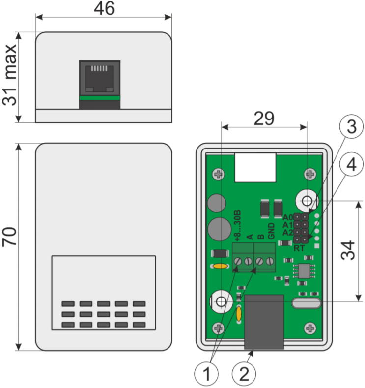 US-RS485 (E) - датчик контроля параметров окружающей среды с внешними измерительными элементами - внешний вид