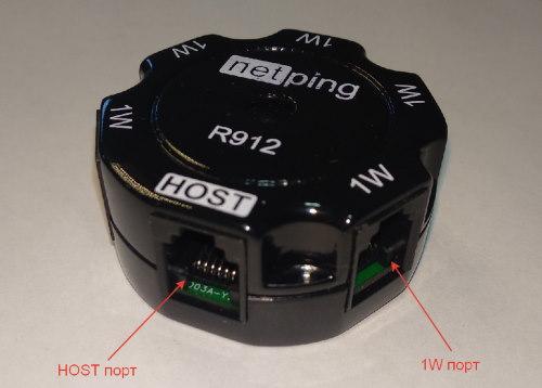 NetPing удлинитель-разветвитель 1-wire на 5 портов, модель R912R1 - разъемы