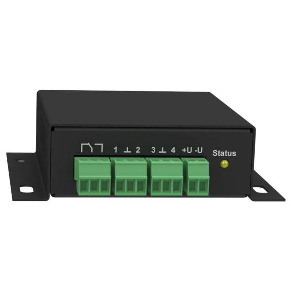 iNode-Light POE (M) WEB/SNMP-адаптер с четырьмя дискретными входами, входом измерения постоянного напряжения, релейным выходом и цифровым интерфейсом датчиков (металлический корпус)