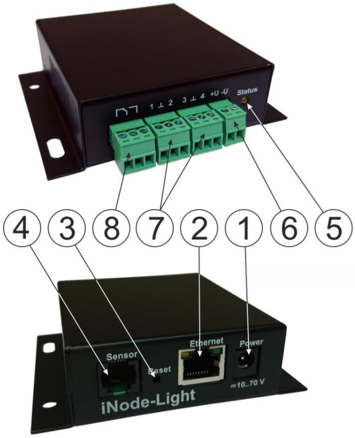 iNode-Light (M) WEB/SNMP-адаптер с четырьмя дискретными входами, входом измерения постоянного напряжения, релейным выходом и цифровым интерфейсом датчиков (металлический корпус) - внешний вид