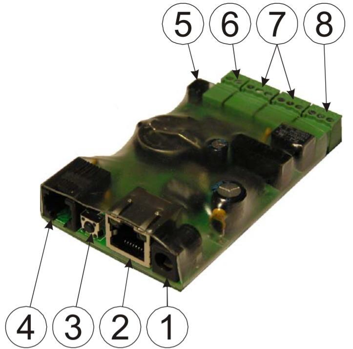 iNode-Light RTC WEB/SNMP-адаптер с четырьмя дискретными входами, входом измерения постоянного напряжения, релейным выходом и цифровым интерфейсом датчиков - внешний вид