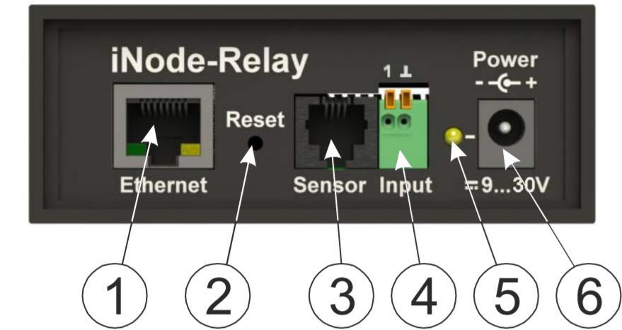 iNode-Relay - сетевой WEB / SNMP адаптер с восемью релейными выходами и одним дискретным входом (тип «сухой контакт») - передняя панель