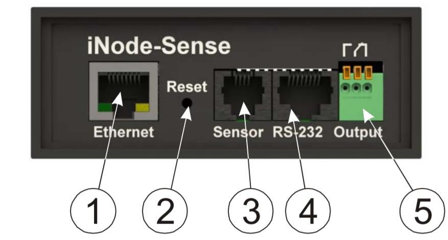 iNode-Sense - сетевой WEB / SNMP адаптер с восемью дискретными входами (тип «сухой контакт»), одним релейным выходом и RS-232 портом - передняя панель
