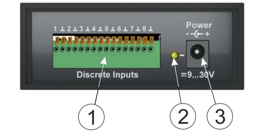 iNode-Sense - сетевой WEB / SNMP адаптер с восемью дискретными входами (тип «сухой контакт»), одним релейным выходом и RS-232 портом - задняя панель