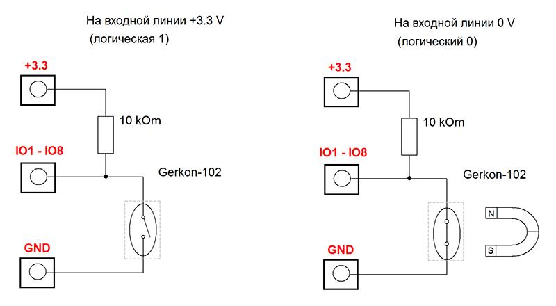 Схема подключения датчика Gerkon-102 к GPIO линии модуля Laurent-5