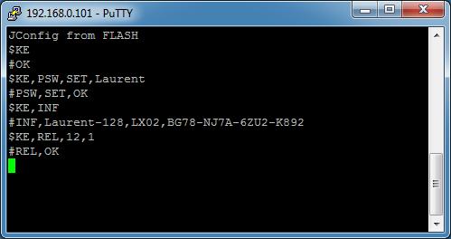 Пример управления реле модуля Laurent-128 Ke-командами через программу Putty