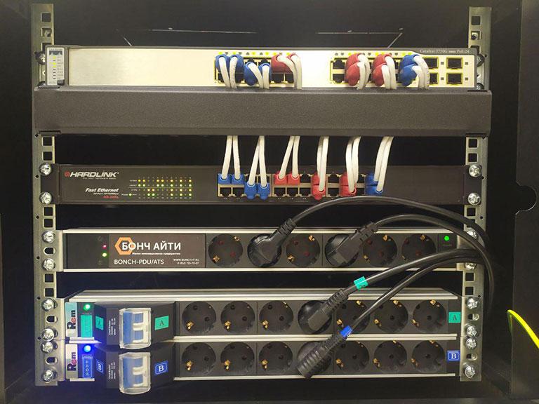 BONCH-ATS/PDU используется в телекоммуникационном шкафу с двумя вводами питания