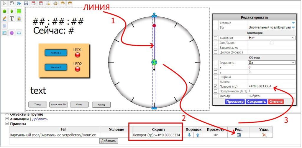 Рис. 3 — Скрипт, реализующий секундную стрелку