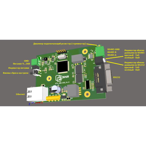 SNR-Eth-RS232/485 - конвертер интерфейсов Ethernet-RS232/485