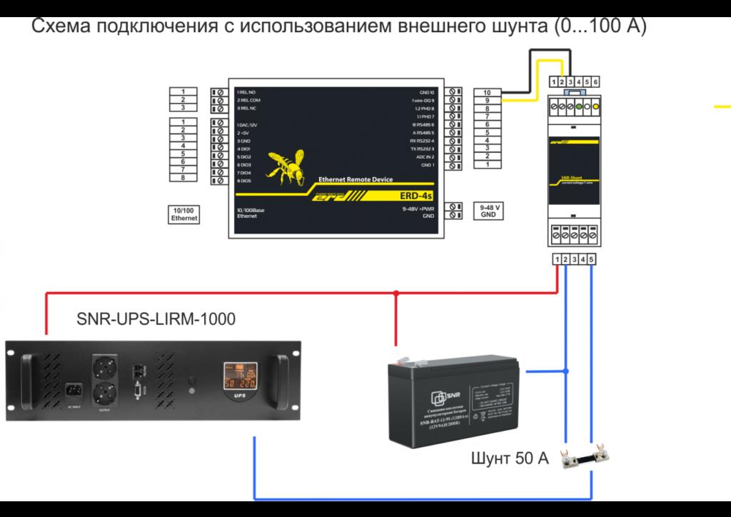 Рисунок 2 – Схема подключения с использованием внешнего шута SNR-SHUNT-1.1 (0... 100 А)