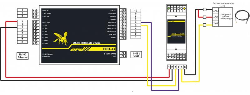 Рисунок 2 – Подключение SNR-RSsensor-H/T/P к SNR-ERD-4s