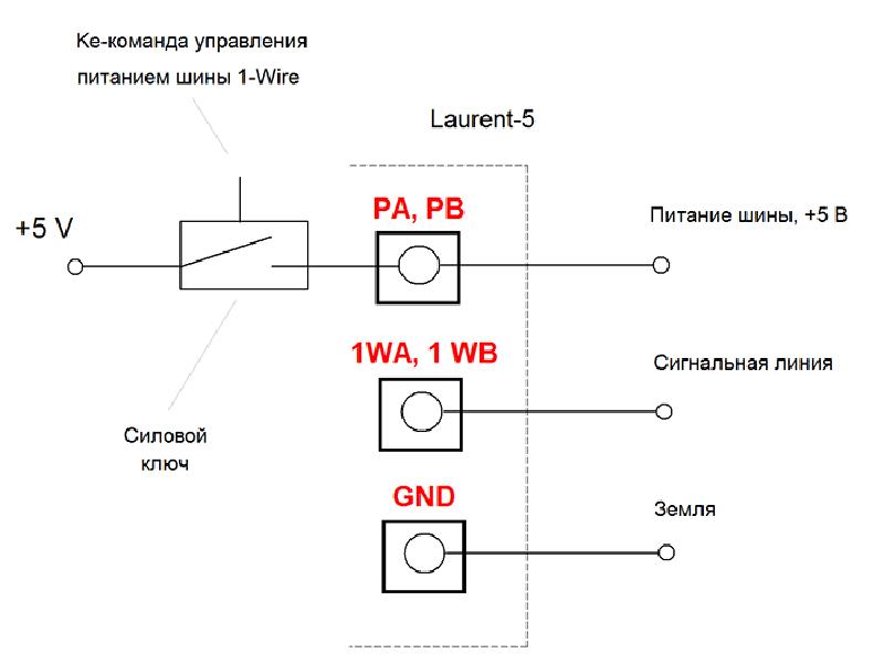 Рисунок 23. Laurent-5G - шина 1-Wire с управляемым питанием и защитой от помех и наводок на длинных линиях