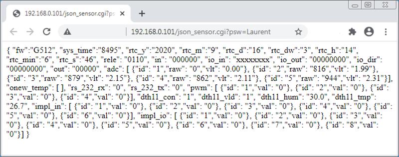 Рисунок 29. Laurent-5G - сбор данных и показаний датчиков через JSON