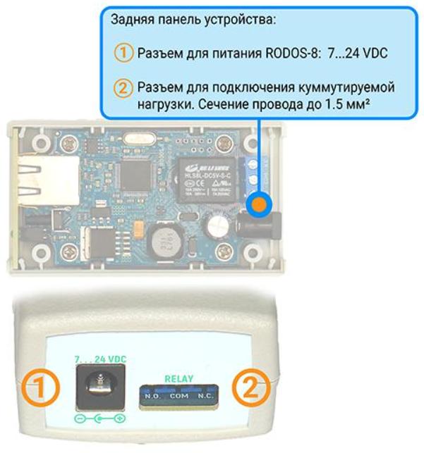 Рис.3 - Задняя панель IP реле RODOS-8
