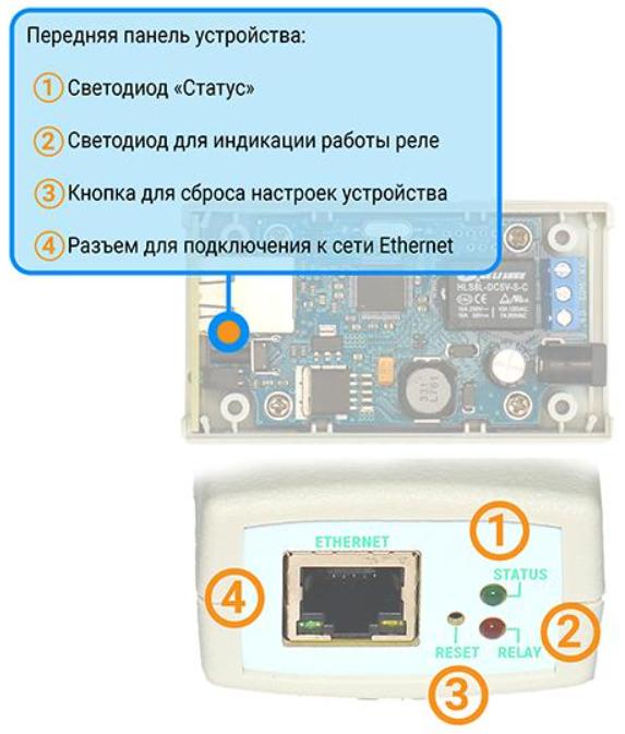 Рис.2 - Передняя панель IP реле RODOS-8