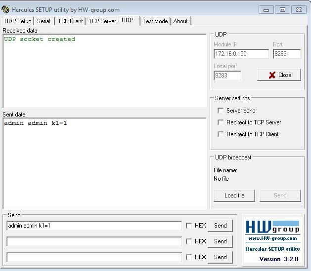 Рис.15 - Управление реле RODOS-8 по UDP через терминальную программу Hercules SETUP