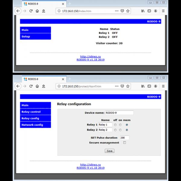 3. Ethernet реле на 2 релейных канала RODOS-9