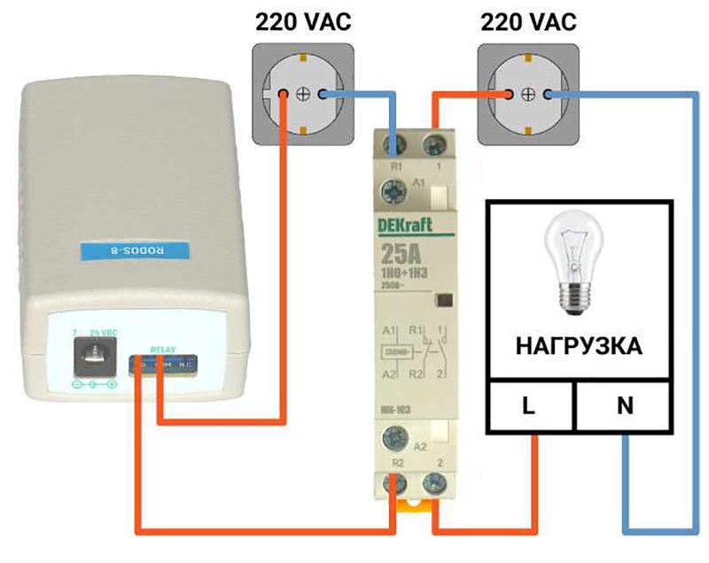 Рис. 1 Схема подключение контактора для rodos-8