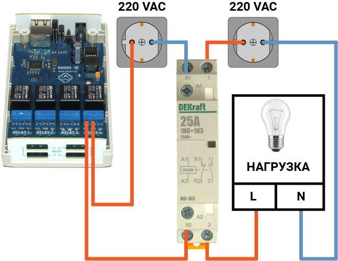 Рис.1 - Пример подключения контактора к Ethernet реле RODOS-10