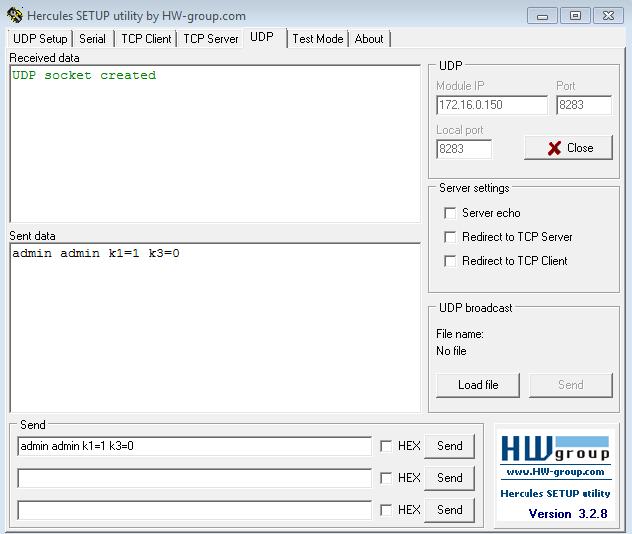 Рис.11 - Управление реле RODOS-10 по UDP через терминальную программу Hercules SETUP