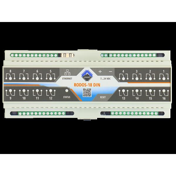 10. Ethernet реле на DIN рейку на 16 релейных канала RODOS-18 DIN