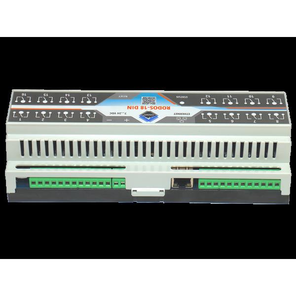 2. Ethernet реле на DIN рейку на 16 релейных канала RODOS-18 DIN