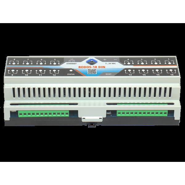 3. Ethernet реле на DIN рейку на 16 релейных канала RODOS-18 DIN